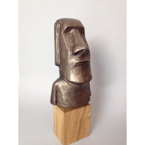 Sculpture Moai Patine Bronze